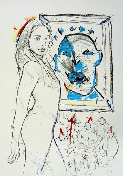 Stehende vor blauem Porträt