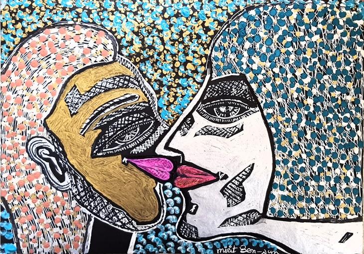 israel painting couple in love modern art israel mirit ben nun