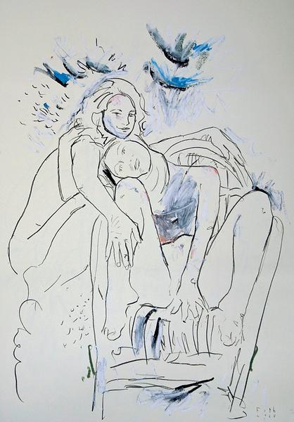 Frauen in einem Garten, melancholisch