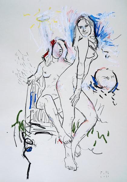 Frauen in einem Garten, heiter II
