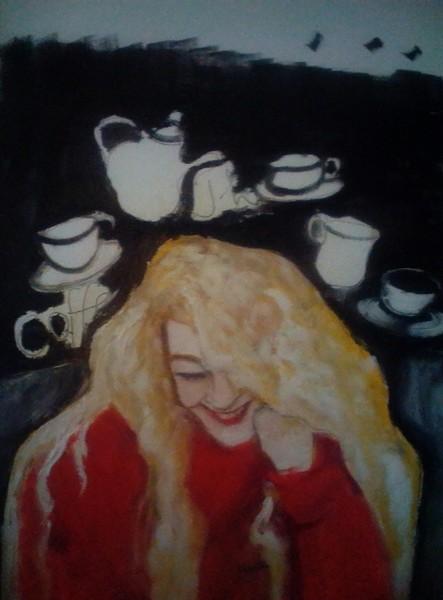 Tochter im Kaffe