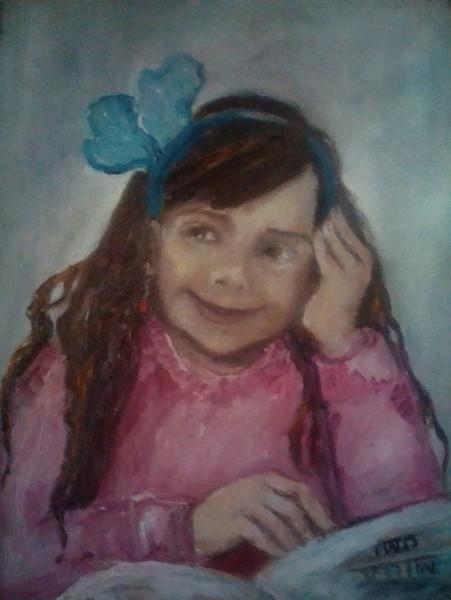 Mádchen mit blauem Haarreif (Enkel)