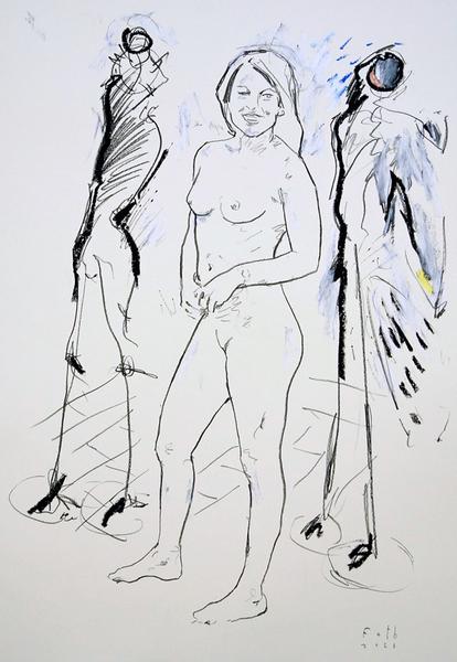 Julia Klöckner, zwei Standskulpturen vorstellend