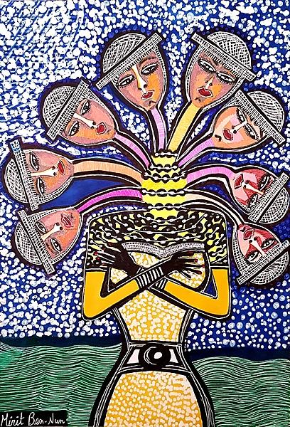 Jewelry woman paintings Israel Mirit Ben-Nun