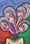 Famous faces and flowers art in Israel woman artwork