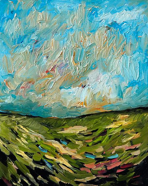 Hügelige Landschaft mit Wiese
