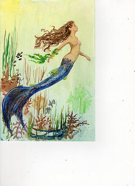 Mermaid facing right
