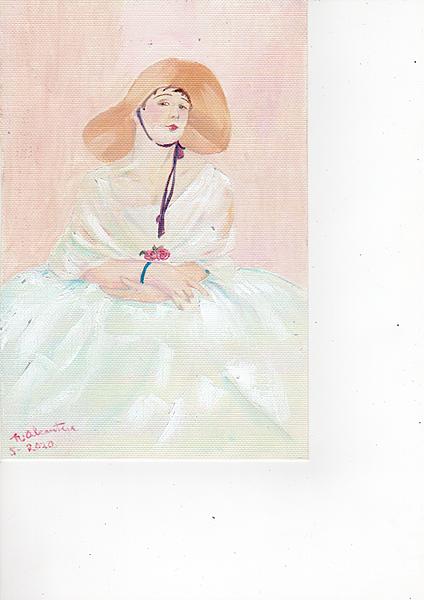 A woman in a straw bonnet