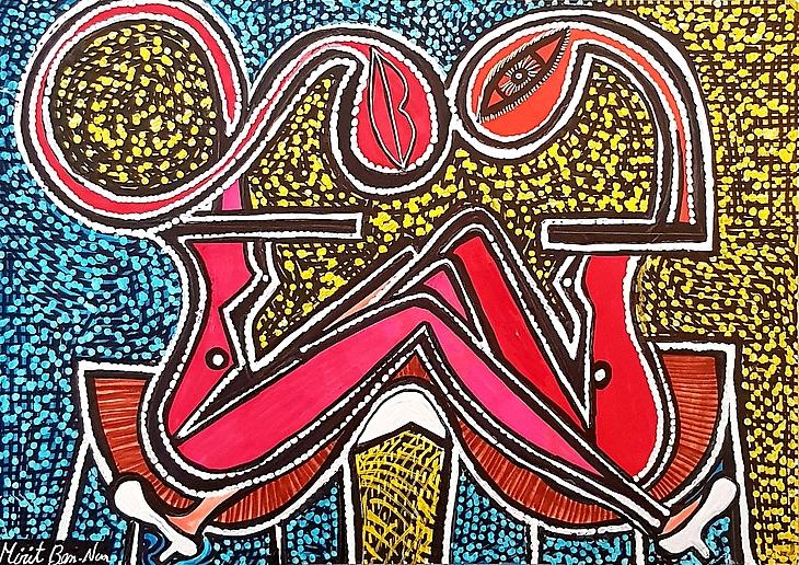Studio paintings host groups Mirit Ben-Nun intuitive art