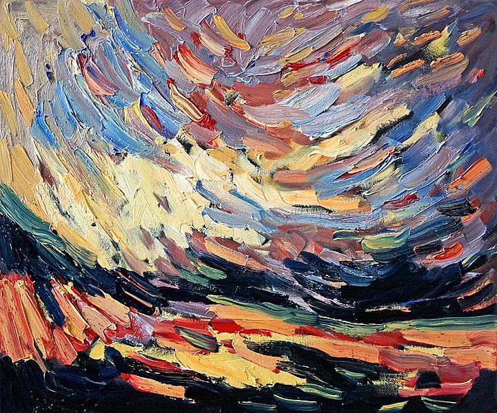 Landschaft, Junilicht - gebrochen I