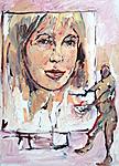 Maler, an einem großen Marianne Faithfull Porträt arbeitend