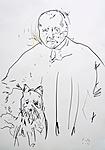 Anders Zorn mit Atelierhund