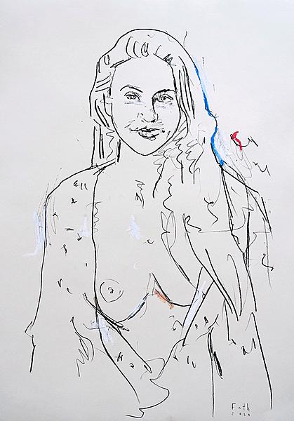 Frau in Hemdbluse