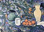 Still life with fruit jug and vase