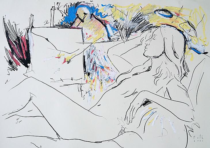 Maler und Modell im Juli III