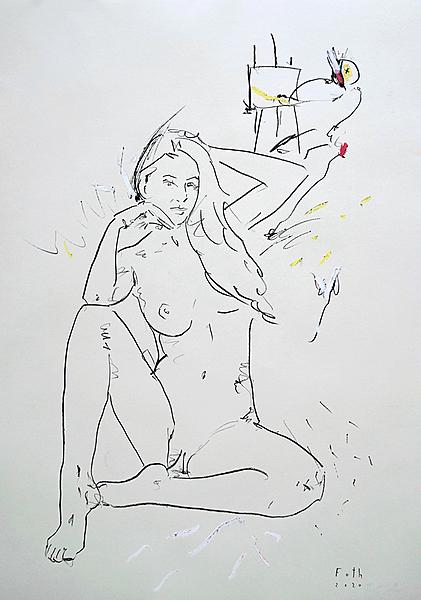 Maler und Modell im Juli IV
