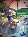 Still-leben mit Katze