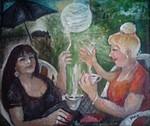morgentlicher Kaffeetratsch mit  der lustigen Freundin