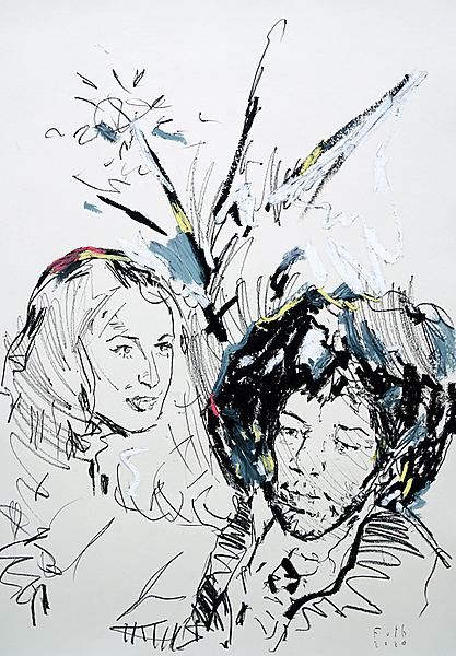 Nora Forster mit Jimi Hendrix