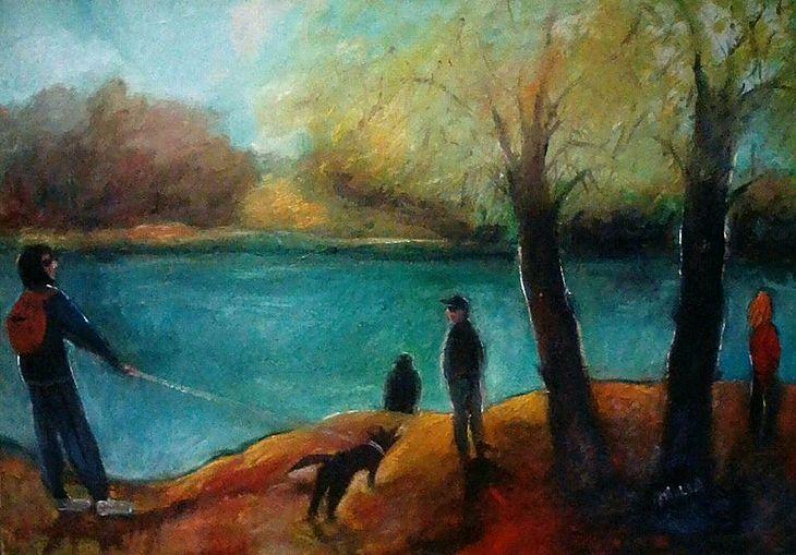 Spaziergang mit Hund an der Theiss