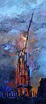 Der Vierungsturm von Notre-Dame de Paris, brennend