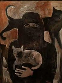Frau mit Katzen
