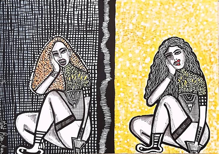 Israeli painter artwork paintings and drawings art woman faces