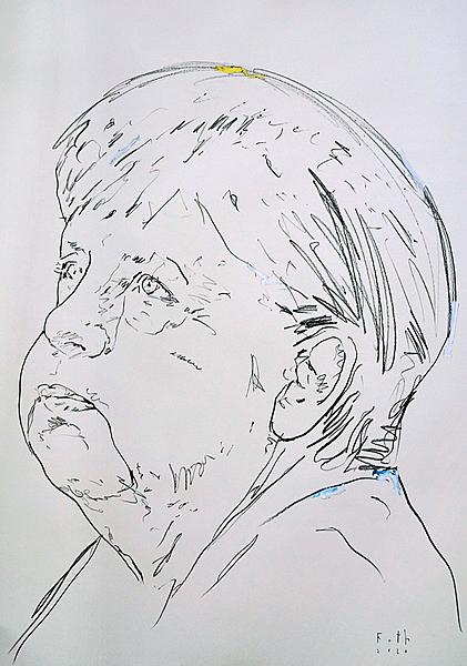 Merkel, die Backen aufblasend