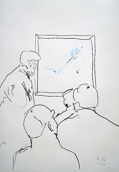 Menschen, ein modernes Gemälde betrachtend