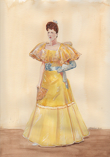 A lady in a yellow dress