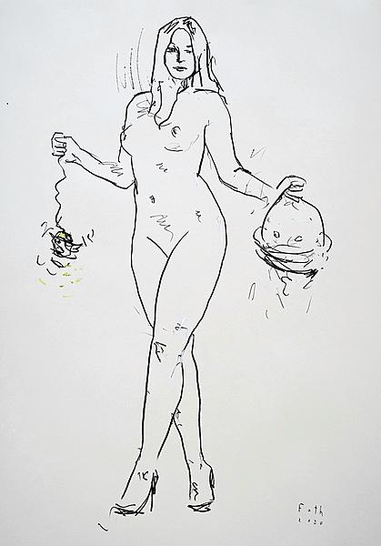 Corona-Judith mit dem Kopf des Holofernes und dem Schrumpfkopf e
