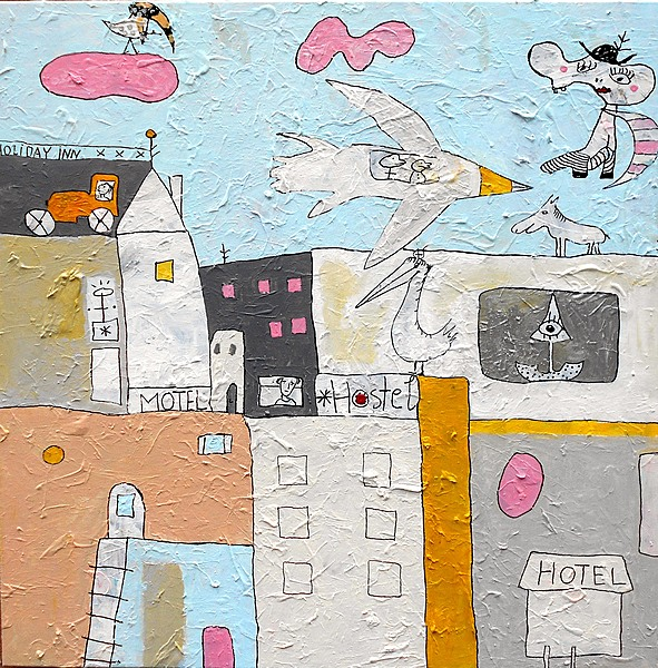 HOTEL MOTEL HOLIDAY INN, 2020, 100 x 100 cm, canvas