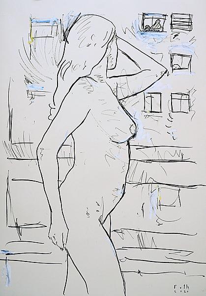 Frau auf Balkon, Coronasommer