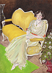 A Lady sitting on a yellow chair