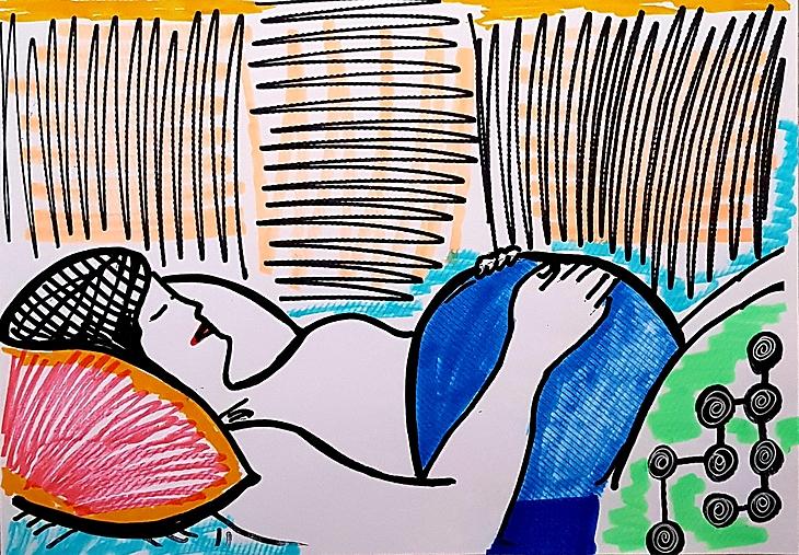 Pregnant woman massage therapy Dana Los Angeles art