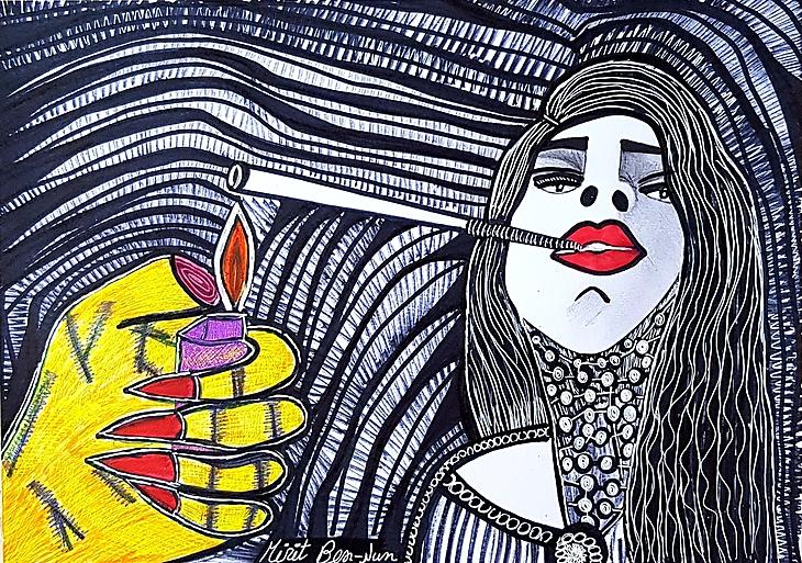 Mirit Ben-Nun Israeli art paintings and drawings art woman faces