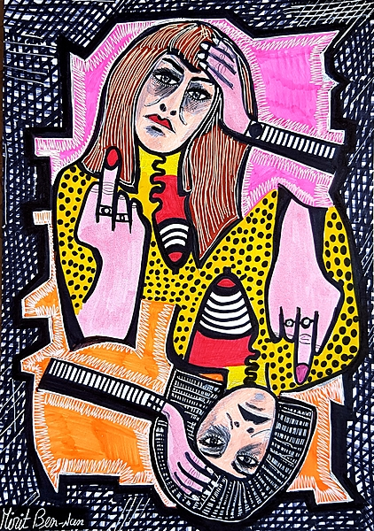Israeli artist works paintings and drawings art woman faces