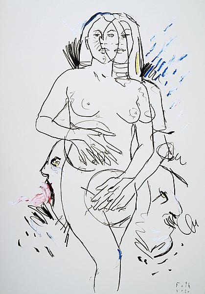 Weiblicher Akt mit Tellerhänden