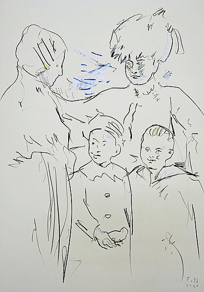 Amalie Foth mit Nachbarin und zwei Buben