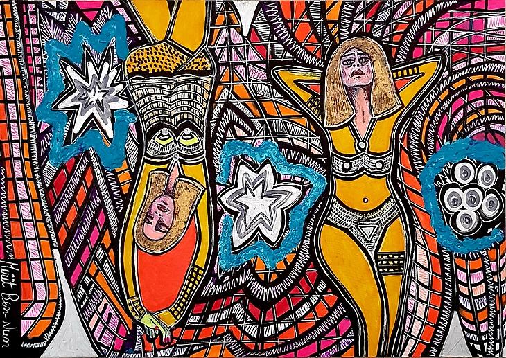 Pop Art Israeli works paintings and drawings art woman faces