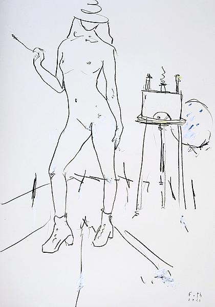Nackte Malerin, Corona Januar