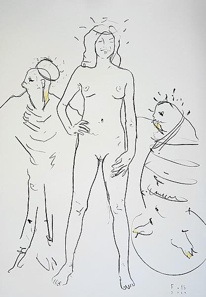 Nackte mit Besuchern, Corona Januar