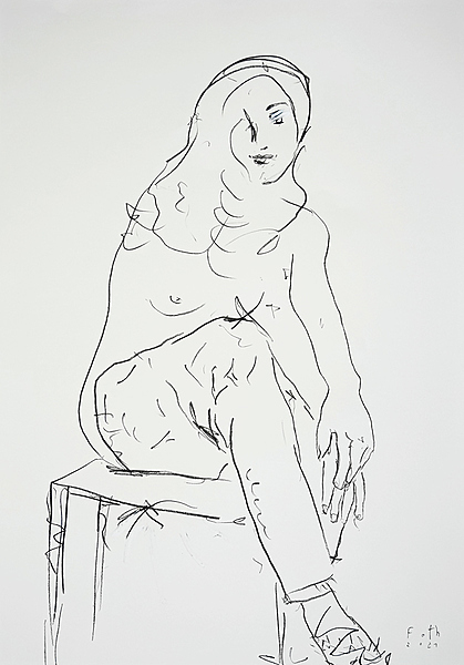 Frau, halb entkleidet hockend