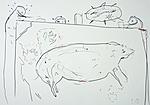 Ateliergehilfen mit dem nachgezeichneten Wildschwein von Sulawes