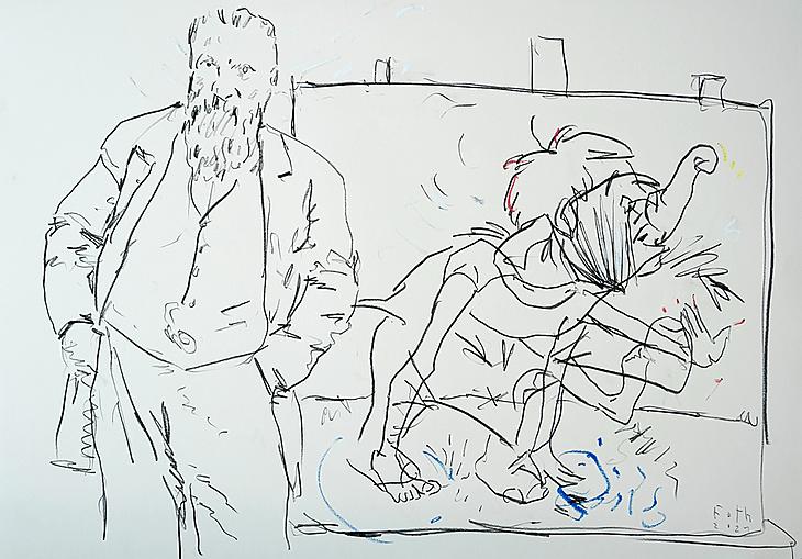 Rodin, eine große Zeichnung Walt Disneys vorstellend