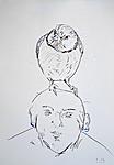 Großer Vogel auf kleinem Kopf