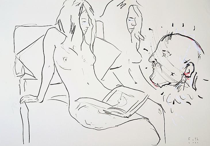 Das spontane Sichtbarwerden des Meisters, Nackte, in Kunstbrosch