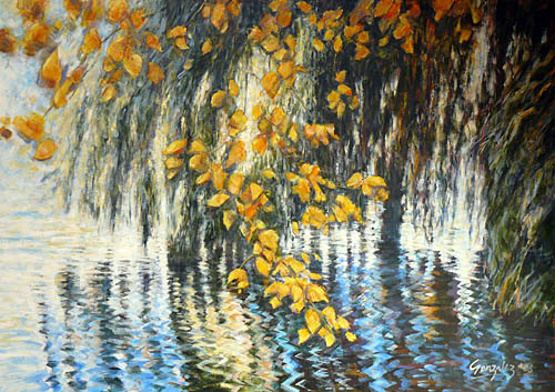 Willow with yellow leaves