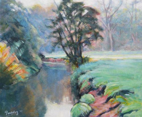 Morning mist, river bend