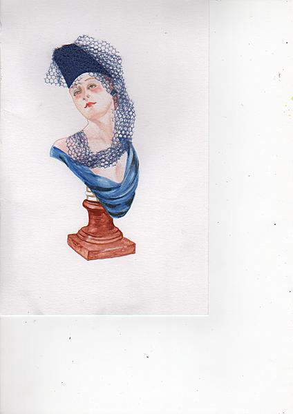 Manaquin  wearing a blue hat .